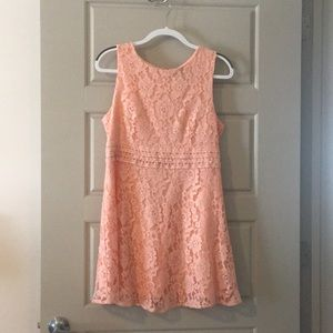 Short light pink lace dress